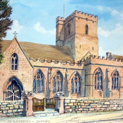 St Andrews Church Shifnal Shropshire as a greeting card. Prints available.