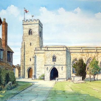 Holy Trinity Church Much Wenlock Shropshire as a greeting card.
