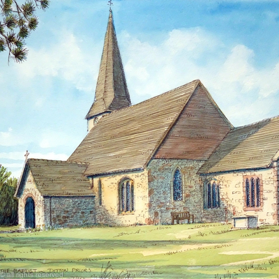 Ditton Priors st John the Baptist Church Shropshire Nr The Brown Clee as agreeting card.