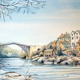 Ironbridge Shropshire winter and the river severn as a greeting card. Prints available.