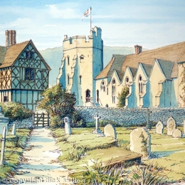 Stokesay Castle Nr Craven Arms Shropshire as a greeting card. Prints available.