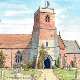 Areley kings Church St Bartholomew's Nr Stourport Worcestershire, greeting/thank-you card