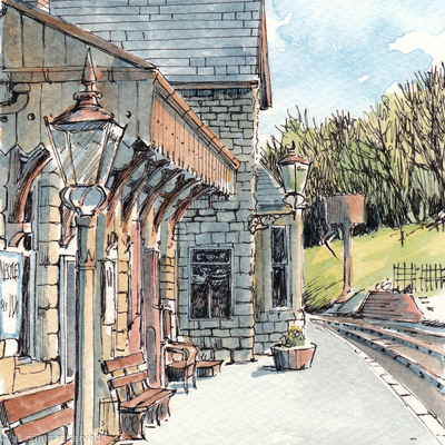 Highley station ( portrait) before the changes, greeting card