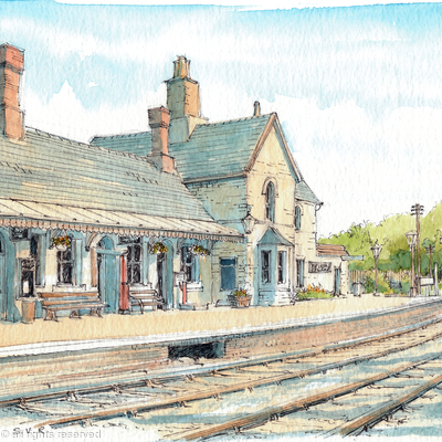 Highley Station before the Engine House and the foot bridge, greeting card