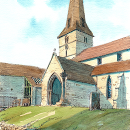 St Mary's Cleobury Mortimer Shropshire as a greeting card