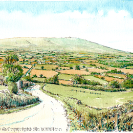 The road to Clee Hill from Hopton Wafers as a greeting card. Prints available.