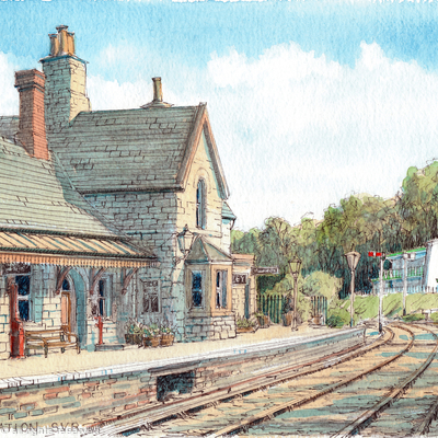 Highley Station with the Engine House greeting card