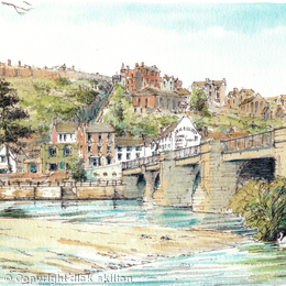 Bridgnorth and The River Severn South side of the bridge, greeting card