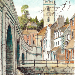 Bewdley from beside the bridge over the Severn (Portrait) greeting card