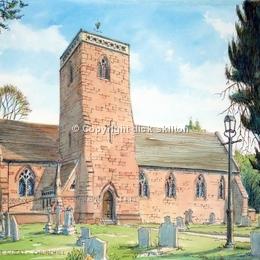 Churchill Church St James the Great Nr Kidderminster , greeting card