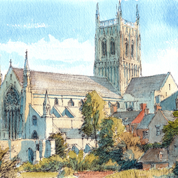 Worcester Cathedral ( No River) greeting Card