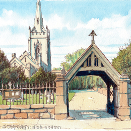 St Andrew Ombersley Nr Worcester Worcestershire, greeting card