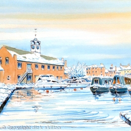 Stourport Canal Basin Worcestershire in winter greeting card