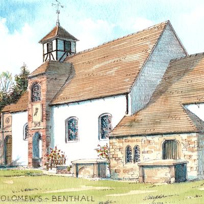 St Bartholomews Church Benthall Nr Broseley Shropshire, greeting card