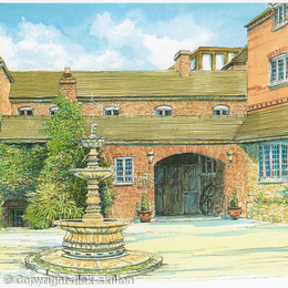 The Mill Hotel entrance Alveley Shropshire as a greeting card