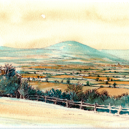 Ludlow from Knowbury Shropshire as a greeting card
