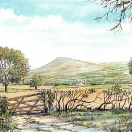 Clee Hill from the road to Craven Arms greeting card