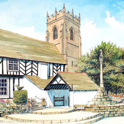 Claverley Church Shropshire Bull Ring Bridgnorth as a greeting card. Prints available.