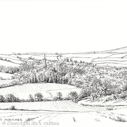 Cleobury Mortimer from Mawley Town Farm as a greeting card. prints available.