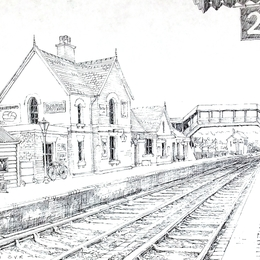 Bewdley Station S.V.R. Worcestershire black & White greeting card