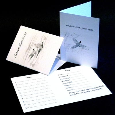 Example of traditional size shoot cards which may be personalised with your shoot name, information, guns, and bag