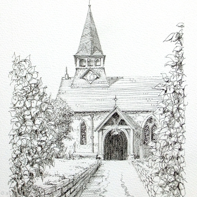 Bucknell St Mary's Shropshire Black & White drawing as a greeting card