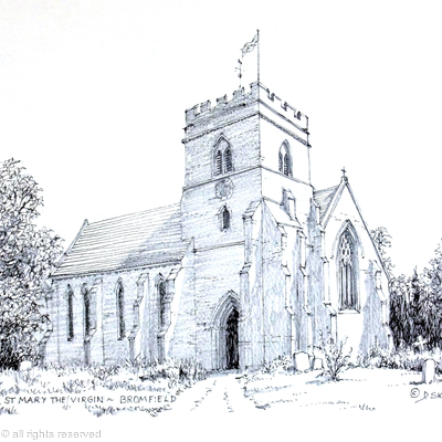 Bromfield Church St Mary The Virgin near Ludlow Shropshire Black & White as a 6 by 4 inch greeting card.