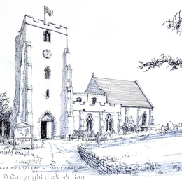 Leintwardine Church St Mary Magdalene Shropshire as a greeting card.
