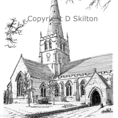 Solihull Church St Alphege Black & White drawing, greeting card. digital prints on watercolour paper available on request.