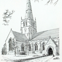 Solihull Church St Alphege Black & White drawing, greeting card