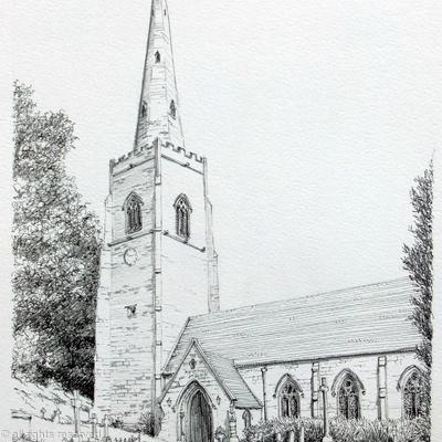 Worfield church Nr Bridgnorth Shropshire greeting card