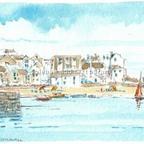 Original pencil and watercolour of St Ives harbour and beach mounted on greeting card