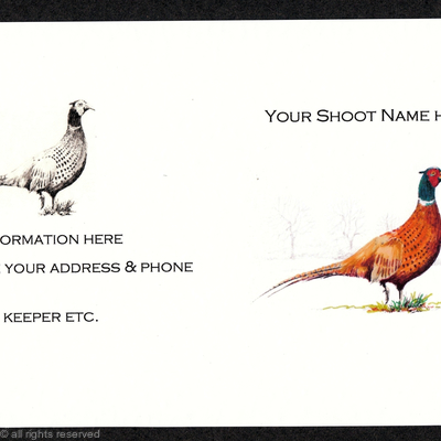 Buy now pack of 20 shoot/ game cards Pheasant coloured