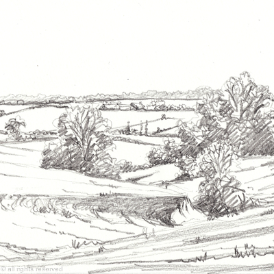 Example of a pencil sketch of a favourite drive on a shoot from a photo emailed to me