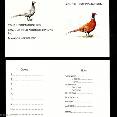 Buy now pack of 20 shoot cards standing coloured pheasant with Gothic script, split pheasants and partridge and weather