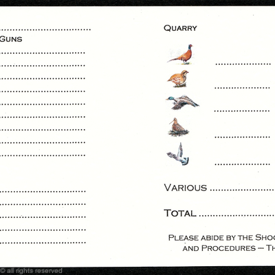 Inside shoot card with bird pictures for quarry or bag