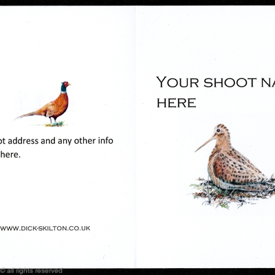 Shoot card (A) Woodcock on the front pack of 20 bespoke, Your information on the front or back