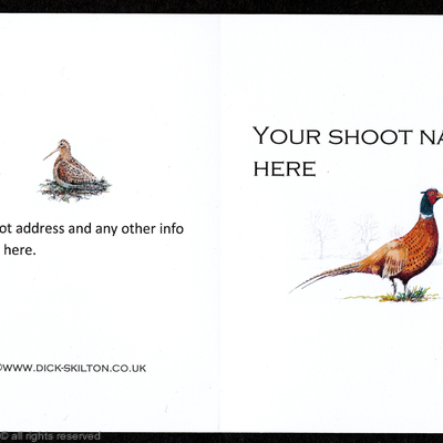 Shoot card (B) Pheasant on the front pack of 20 bespoke, your information on the front or back