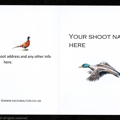 Shoot card (D) Duck on the front pack of 20 bespoke, your information on the front or back
