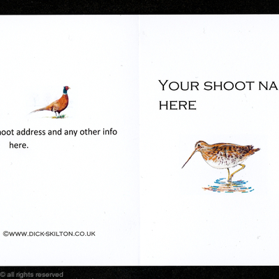Shoot card (E) Snipe on the front pack of 20 bespoke, your information on the front or back