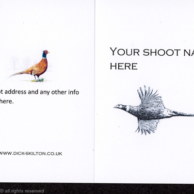 Example of shoot card with Black and white high flying pheasant