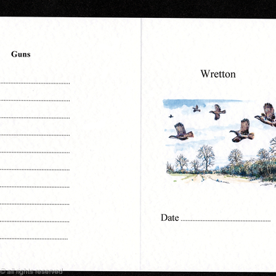 Example of a shoot card with a cuvvy of partridge