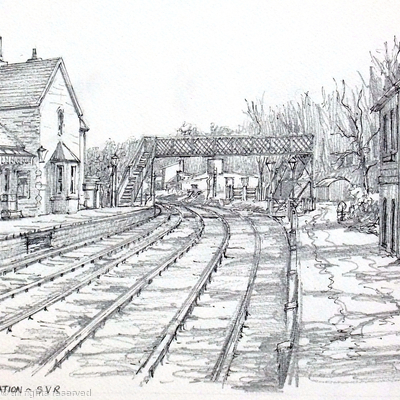 Highley station with foot bridge and engine house. greeting card