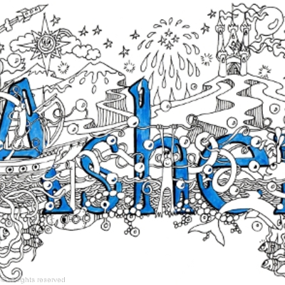 Asher name art design on greeting card with matching blue envelope