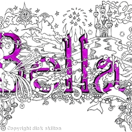 Bella name art greeting car with purple envelope