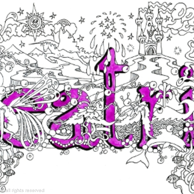 Beatrix name art greeting card with mathing purple envelope