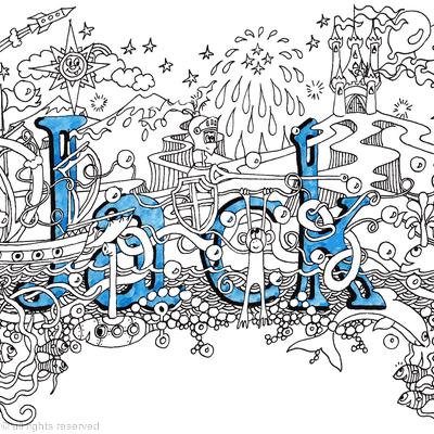 Jack name art greeting card supplied with blue envelope