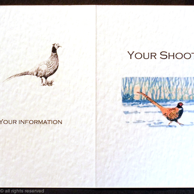 Possible shoot card layout with pheasant sunset and snow