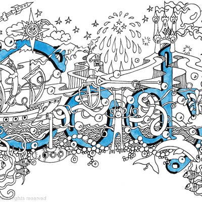 Cody greeting card nameart with blue envelope