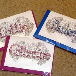 Lottie Catherine & Parker name art greeting cards at £2 each